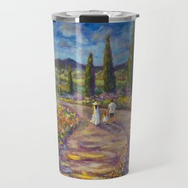 "Tuscany Painting on Canvas 37.8"" Landscape Painting Italy Country Art Impressionist Painting Tuscan Travel Mug"