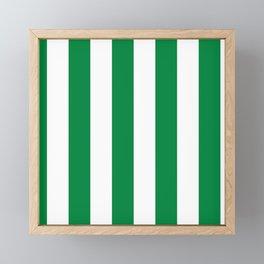 Classic Cabana Stripes in White + Kelly Green Framed Mini Art Print