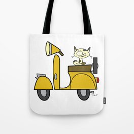 cat on a scooter Tote Bag