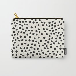 Black Decorative Dots on White, Minimalist line drawing, Modern art print with dots. Carry-All Pouch