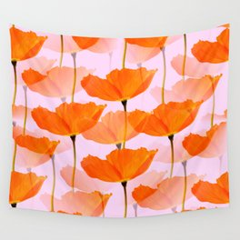 Orange Poppies On A Pink Background #decor #society6 #buyart Wall Tapestry