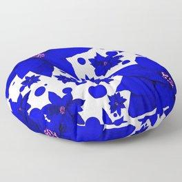 Poinsettia Blue Indigo Pattern Floor Pillow