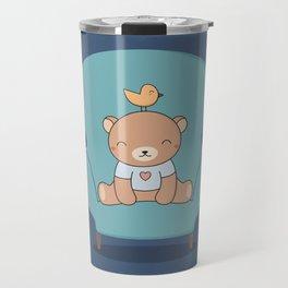Kawaii Cute Teddy Brown Bear On A Sofa Travel Mug