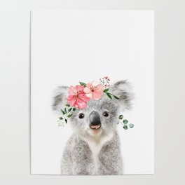 Baby Koala with Flower Crown Poster