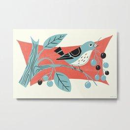 Blue Berry Bird Metal Print