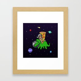 Cat And Pizza Riding Triceratops In Space Framed Art Print