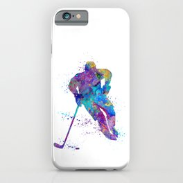 Boy Ice Hockey Colorful Sports Art Watercolor Gift iPhone Case