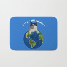 Save the world black and white cat Globus Bath Mat