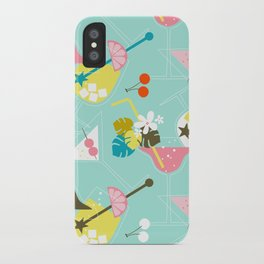 Pink Flamingo Cocktails iPhone Case