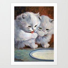 Vintage Cats Drinking Milk - Louis Wain Art Art Print