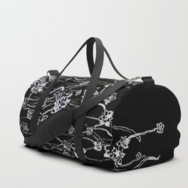 White ink. graphic with white ink  and black cardboard. flowers Duffle Bag