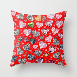 Heart Diamonds are Forever Love RED Throw Pillow