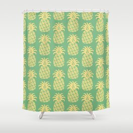 Mid Century Modern Pineapple Pattern Yellow and Green Shower Curtain