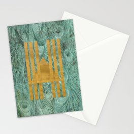 Peacock geo texture Stationery Cards