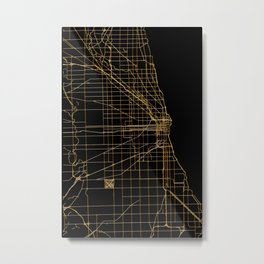 Black and gold Chicago map Metal Print