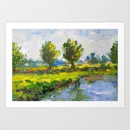 Dutch polderlandscape with willows Art Print