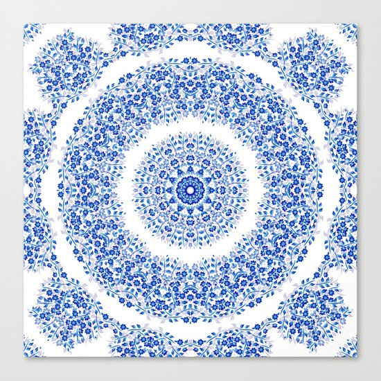 Blue White Floral Mandala Canvas Print