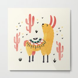 Yellow Llama Red Cacti Metal Print