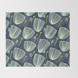 Tulip Garden M+M Navy Black by Friztin Throw Blanket