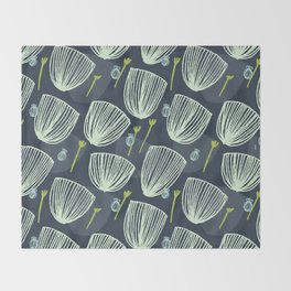 Tulip Garden M+M Navy Black by Friztin Throw Blanket