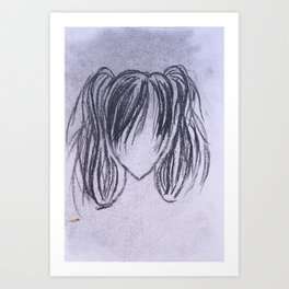 Girl with High Ponytails Art Print