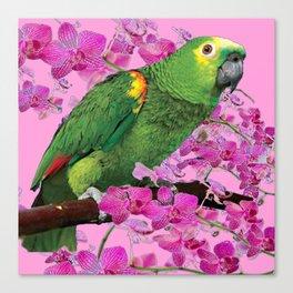 PINK TROPICAL GREEN PARROT & FUCHSIA ORCHIDS  ART Canvas Print