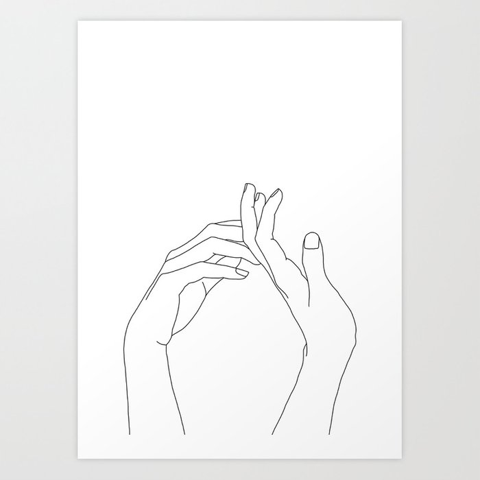 hands line drawing illustration abi art print by thecolourstudy