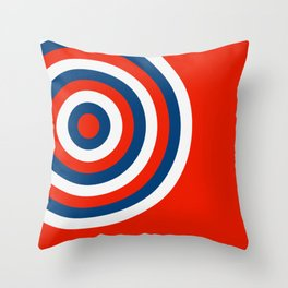 Retro Circles Pop Art - Red White & Blue Throw Pillow