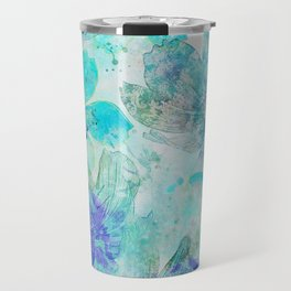 blue turquoise mixed media flower illustration Travel Mug