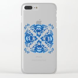 Vintage shabby Chic Seamless pattern with blue flowers and leaves Clear iPhone Case