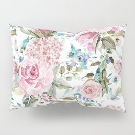 Country chic blush pink teal lavender watercolor floral Pillow Sham