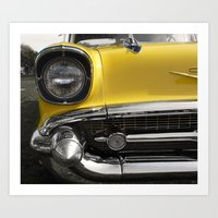 Yellow 57 Chevrolet 2 Art Print