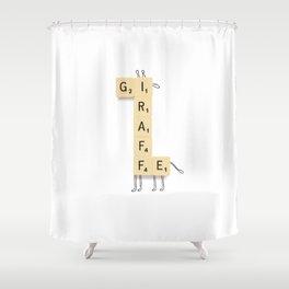 Giraffe Scrabble Shower Curtain