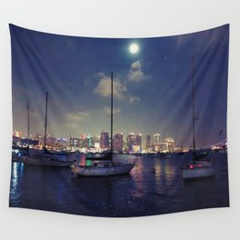 San Diego by Night - Oil Wall Tapestry