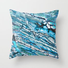 Blue Marble with Black Throw Pillow