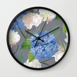 Blue Hydrangea on Gray Wall Clock