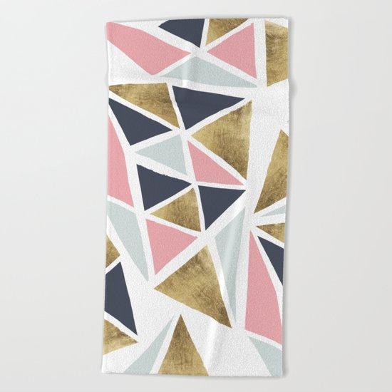 Modern geometrical pink navy blue gold triangles pattern Beach Towel