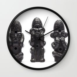 The Three Wise Monkeys Carvings Wall Clock