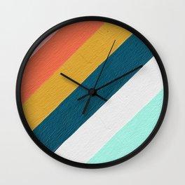 Diagonal Color Blocking – Mediterranean Palette Wall Clock