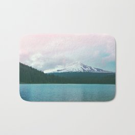 Mountain Lake - Nature Photography - Turquoise Teal Pink Bath Mat