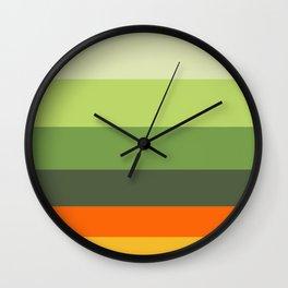 Orange Blossoms Colorful Stripes Wall Clock