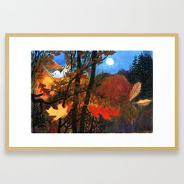 """""""Owl Sees Owl"""" Red and Yellow Leaves Framed Art Print"""