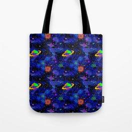 Neon Saturn Pattern Tote Bag