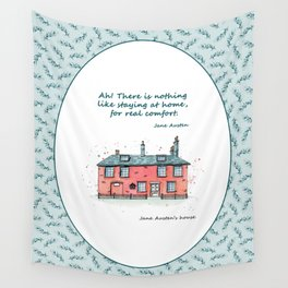 Jane Austen house and quote Wall Tapestry