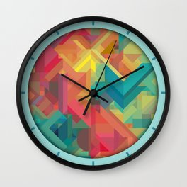 VIBRANT ABSTRACT MULTI COLOR GEOMETRIC PATTERN GRAPHIC Wall Clock