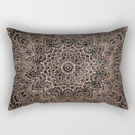Mandala - rose gold and black marble 3 Rectangular Pillow