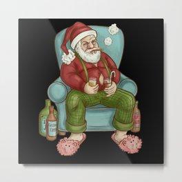 Naughty Santa Christmas Illustration in chair Metal Print