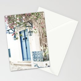 Blue Door With Pink Blossom Photo | Tunisia Travel Photography | Pastel Colored Street Scene Stationery Cards