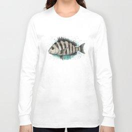 """Sheepshead Splash"" by Amber Marine ~ Watercolor Fish Painting (Copyright 2016) Long Sleeve T-shirt"