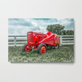 Vintage Orchard Tractor McCormick Deering Antique Red Farm Implement  Metal Print